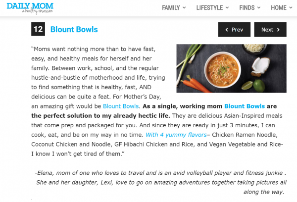 Blount Bowls featured on Daily Mom