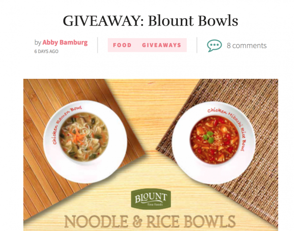 Blount Bowls featured in Sarah Scoop's Foodie Gift Guide